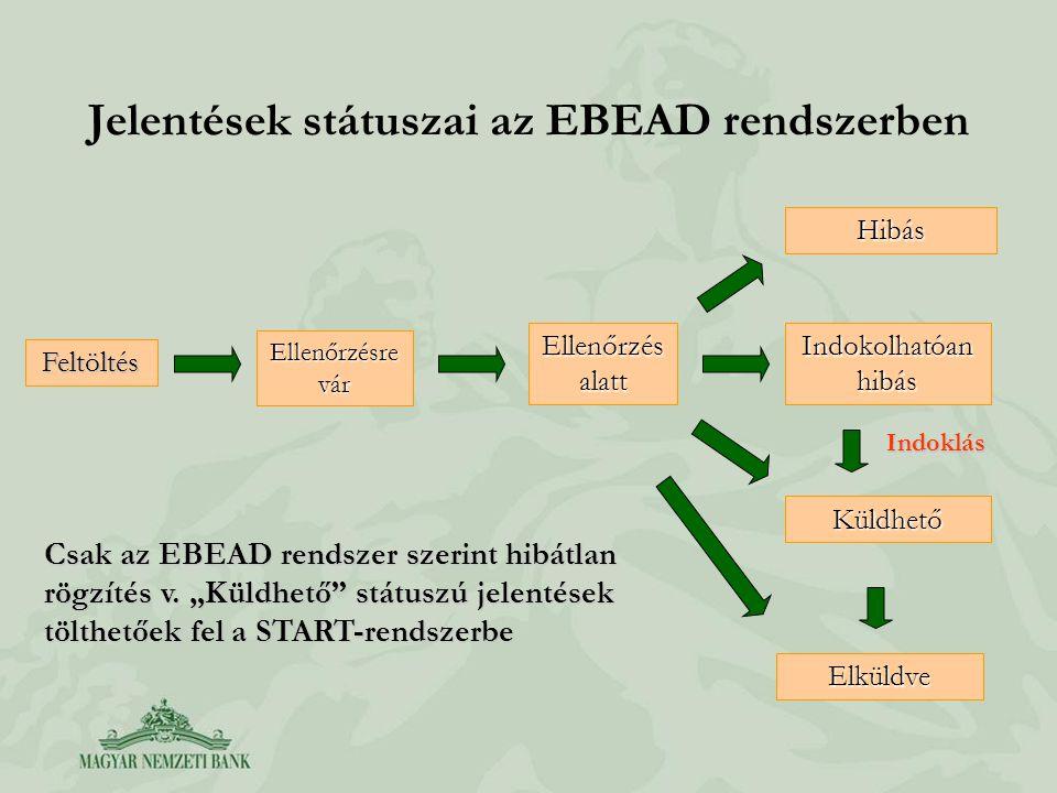 Jelentések státuszai az EBEAD rendszerben Ellenőrzés alatt Hibás Indokolhatóan hibás Küldhető Indoklás Ellenőrzésre vár Elküldve Feltöltés Csak az EBEAD rendszer szerint hibátlan rögzítés v.