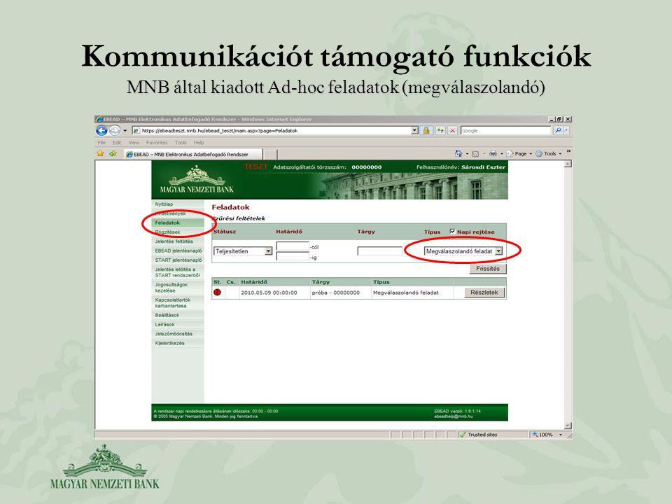 MNB által kiadott Ad-hoc feladatok (megválaszolandó) Kommunikációt támogató funkciók MNB által kiadott Ad-hoc feladatok (megválaszolandó)