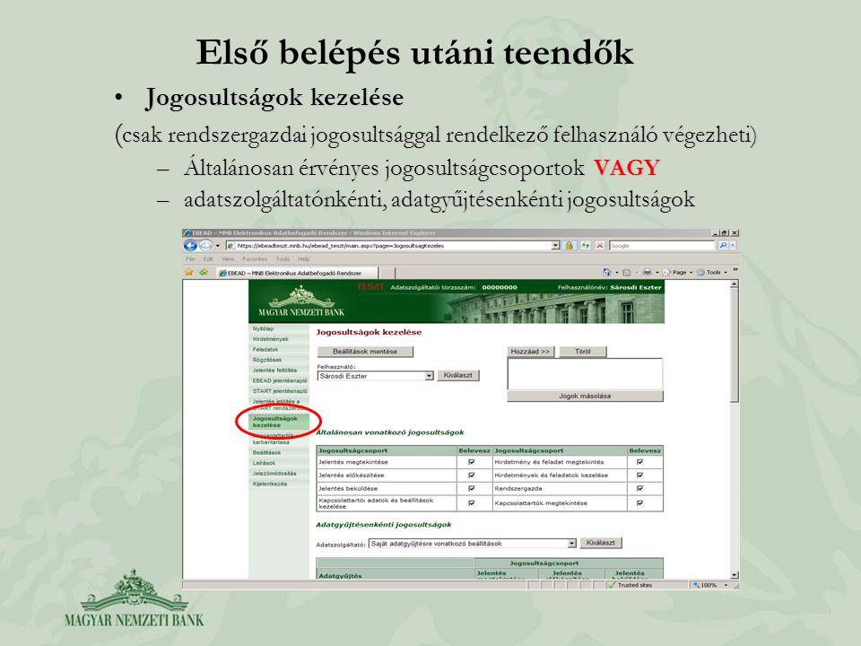 Első belépés utáni teendők Jogosultságok kezeléseJogosultságok kezelése ( csak rendszergazdai jogosultsággal rendelkező felhasználó végezheti) –Általánosan érvényes jogosultságcsoportok VAGY –adatszolgáltatónkénti, adatgyűjtésenkénti jogosultságok