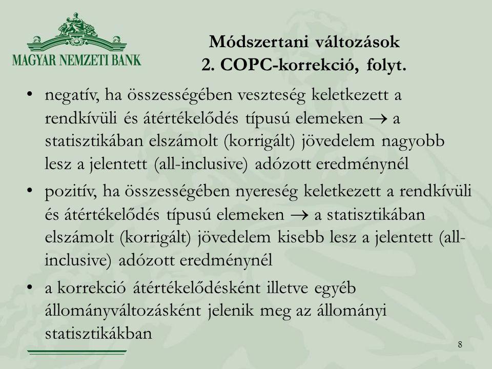 8 Módszertani változások 2. COPC-korrekció, folyt.
