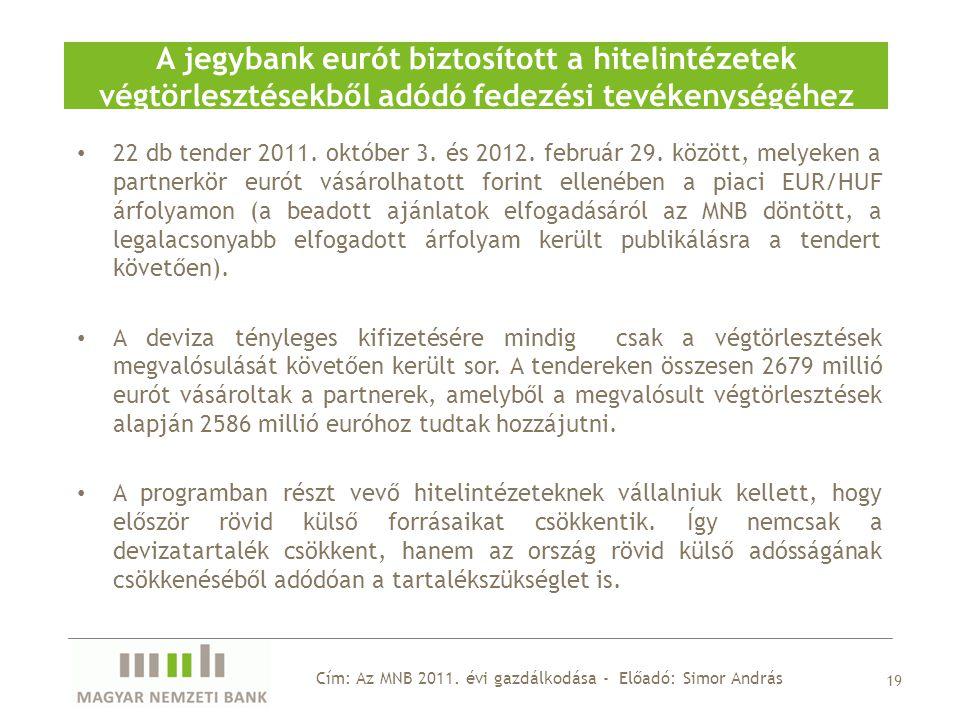 A jegybank eurót biztosított a hitelintézetek végtörlesztésekből adódó fedezési tevékenységéhez 19 22 db tender 2011.
