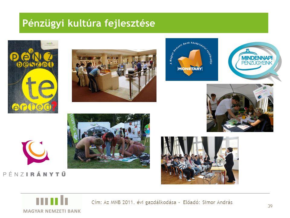39 Pénzügyi kultúra fejlesztése Cím: Az MNB 2011. évi gazdálkodása - Előadó: Simor András