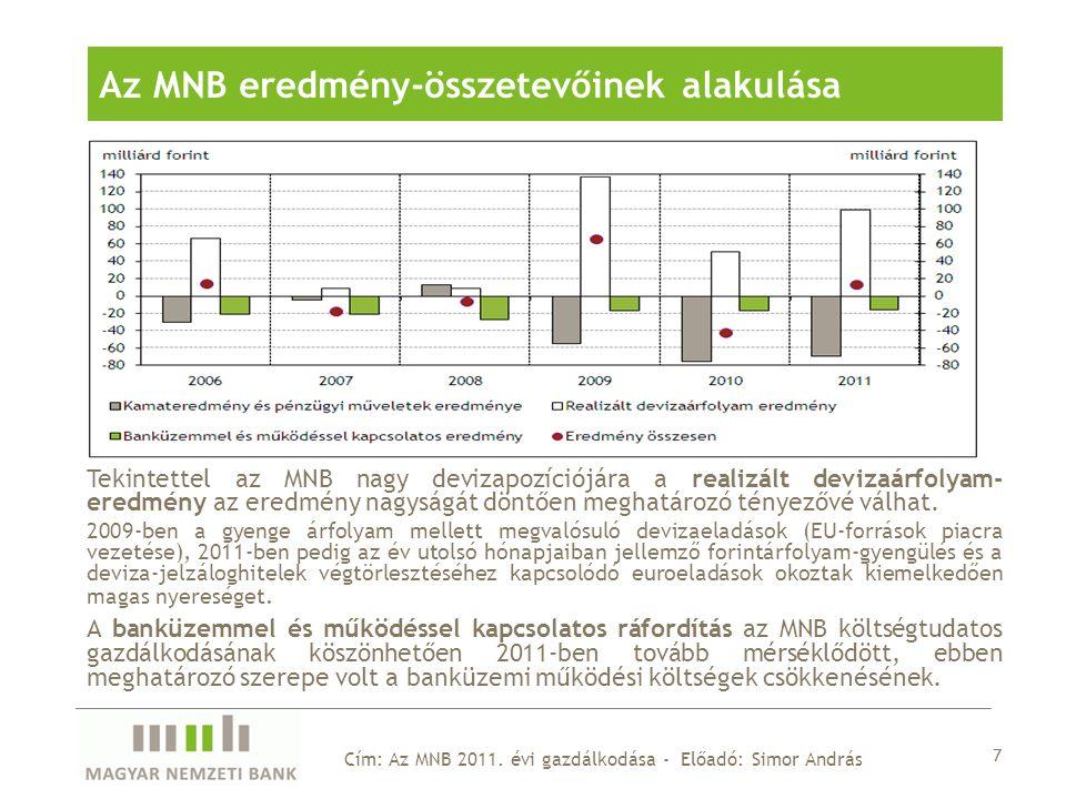 Tekintettel az MNB nagy devizapozíciójára a realizált devizaárfolyam- eredmény az eredmény nagyságát döntően meghatározó tényezővé válhat.