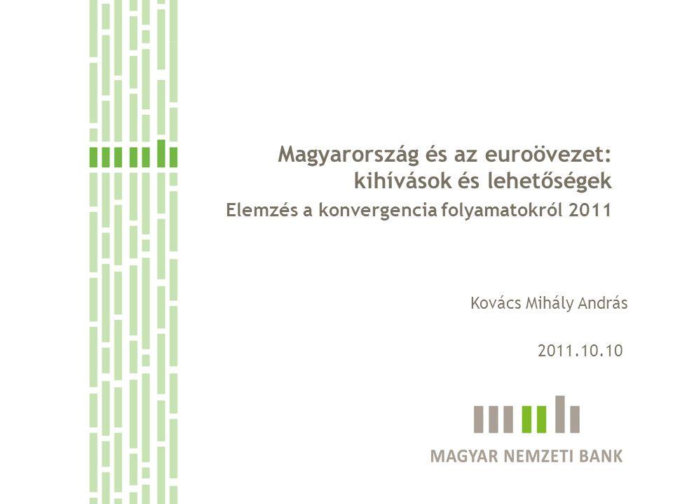 Tavalyi elemzésünkben elsősorban azzal foglalkoztunk, miként hat a válság a konvergencia kilátásokra Idei elemzésünket Magyarország és az euroövezet kapcsolatának szenteltük Egyrészt az övezet Magyarország legfontosabb gazdasági és pénzügyi partnere, így fontos értenünk mi történik ott Másrészt, ugyan az övezeti belépés nincs napirenden az elkövetkező években, de az előbb utóbb az EU integrációból adódó szükségszerűség, így érdemes végiggondolnunk, hogyan lehetünk sikeres euro tagok A válság tapasztalata, hogy a gazdaságpolitikai felkészülést érdemes jó néhány évvel a majdani belépés előtt elkezdeni A konvergencia elemzés kiadványunkban rendszeresen vizsgáljuk azokat a strukturális kihívásokat, amelyek fontosak euroövezeti belépés sikere szempontjából