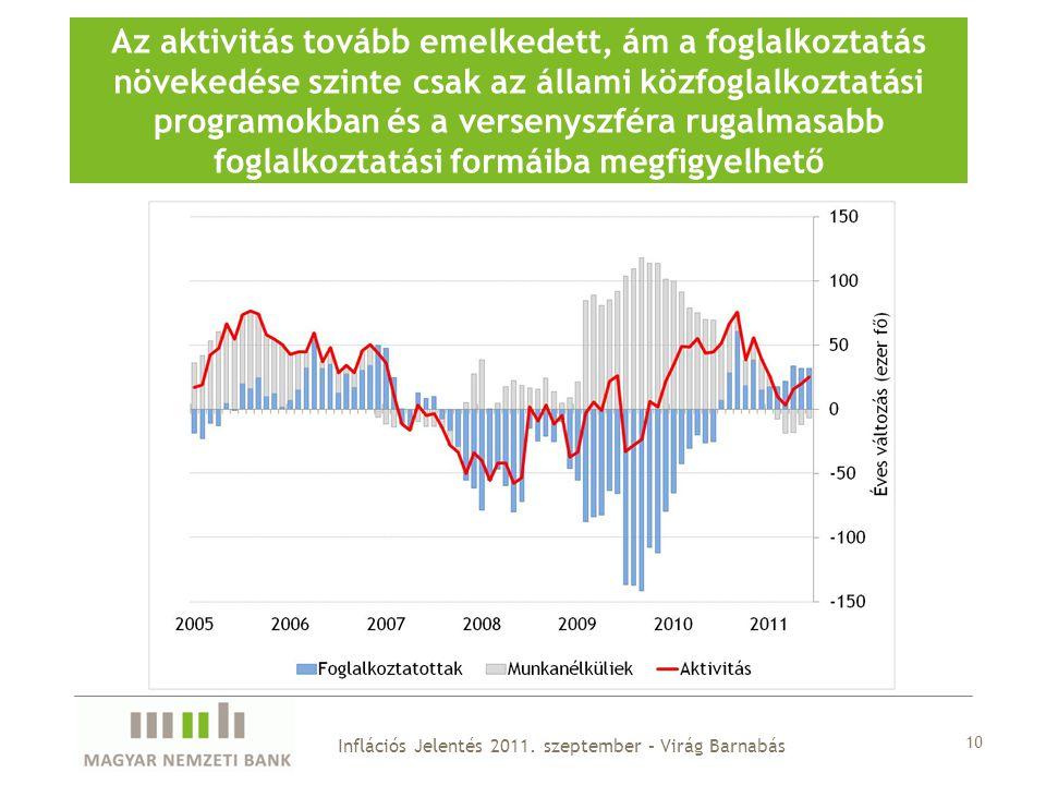 10 Az aktivitás tovább emelkedett, ám a foglalkoztatás növekedése szinte csak az állami közfoglalkoztatási programokban és a versenyszféra rugalmasabb foglalkoztatási formáiba megfigyelhető Inflációs Jelentés 2011.