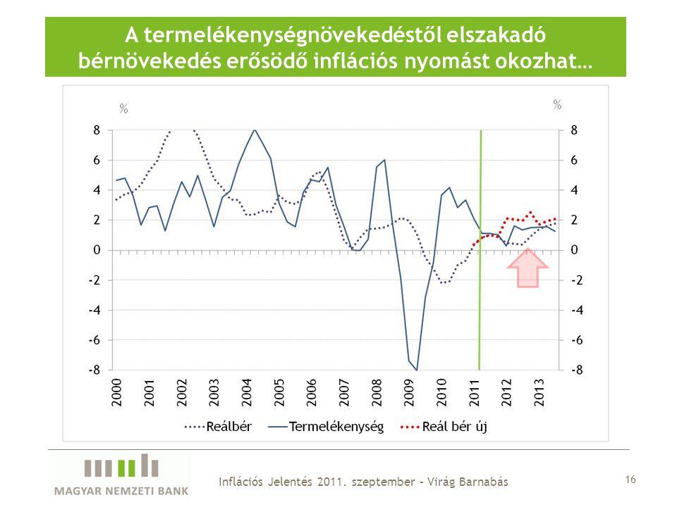 16 A termelékenységnövekedéstől elszakadó bérnövekedés erősödő inflációs nyomást okozhat… Inflációs Jelentés 2011.
