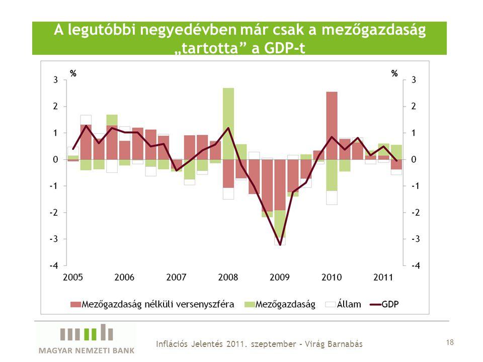 """18 A legutóbbi negyedévben már csak a mezőgazdaság """"tartotta a GDP-t Inflációs Jelentés 2011."""