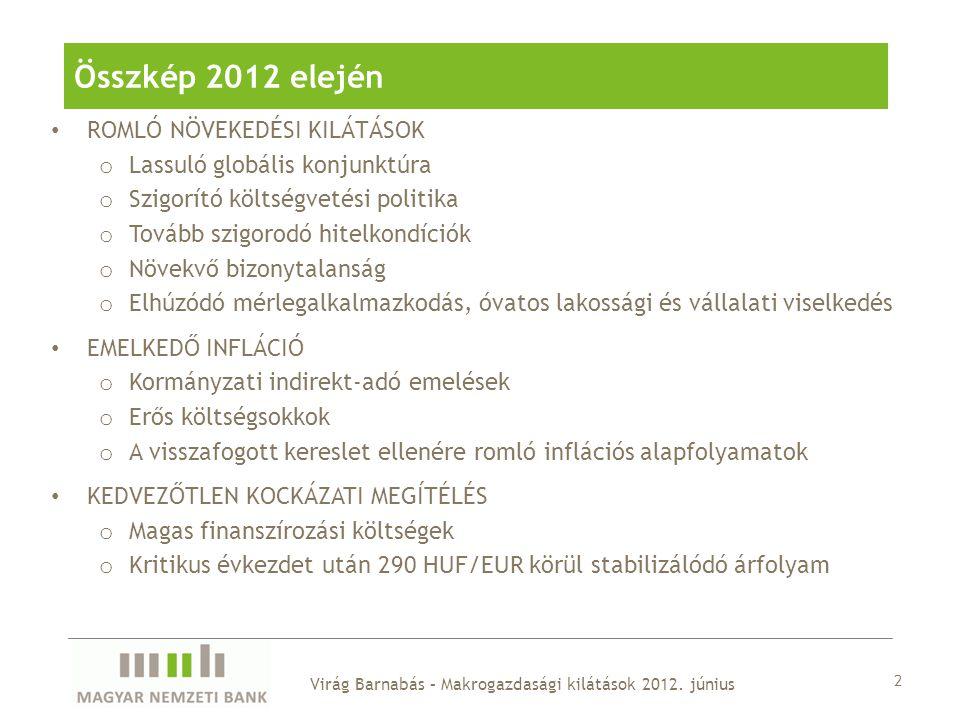 13 A tartósan gyenge keresleti környezetben a gazdaság termelő kapacitásait is tartós veszteség érhette, a potenciális növekedés lelassult… Virág Barnabás – Makrogazdasági kilátások 2012.