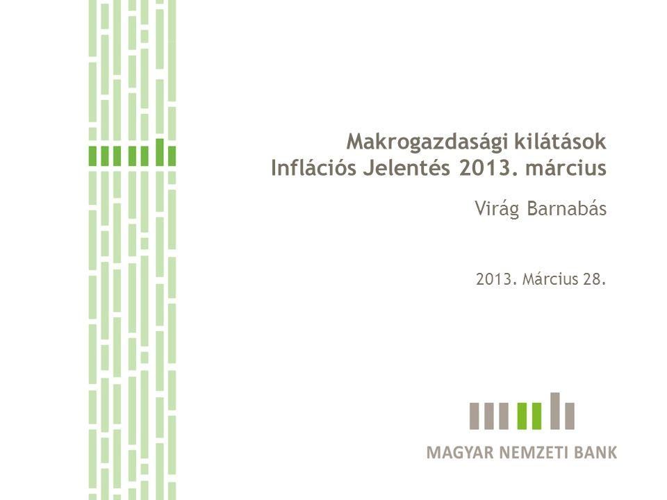 Fokozatos kilábalás 2013-14-ben Bizonytalan nemzetközi környezet – az új kapacitások kiépülése dinamizálhatja az exportot Folytatódó mérlegkiigazítás Szigorú hitelfeltételek A fő dilemma a vállalati profit-helyreállítás módja Alappályánkban ár- és költségoldali alkalmazkodást is feltételezünk Az inflációs alapfolyamatokat a gyenge kereslet és a költségsokkok kettőssége alakítja A megemelkedett költségek fogyasztói árakba történő továbbhárítása korlátozott lehet, a rezsicsökkentések érdemben mérséklik az inflációt Az alacsony inflációs környezetben az inflációs cél 2014 második felében érhető el 2 Cím: Makrogazdasági kilátások 20123.