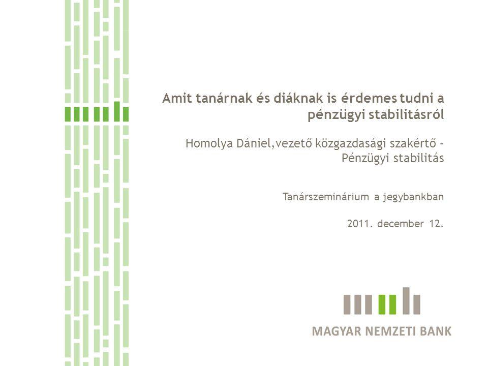 Amit tanárnak és diáknak is érdemes tudni a pénzügyi stabilitásról Homolya Dániel,vezető közgazdasági szakértő – Pénzügyi stabilitás Tanárszeminárium