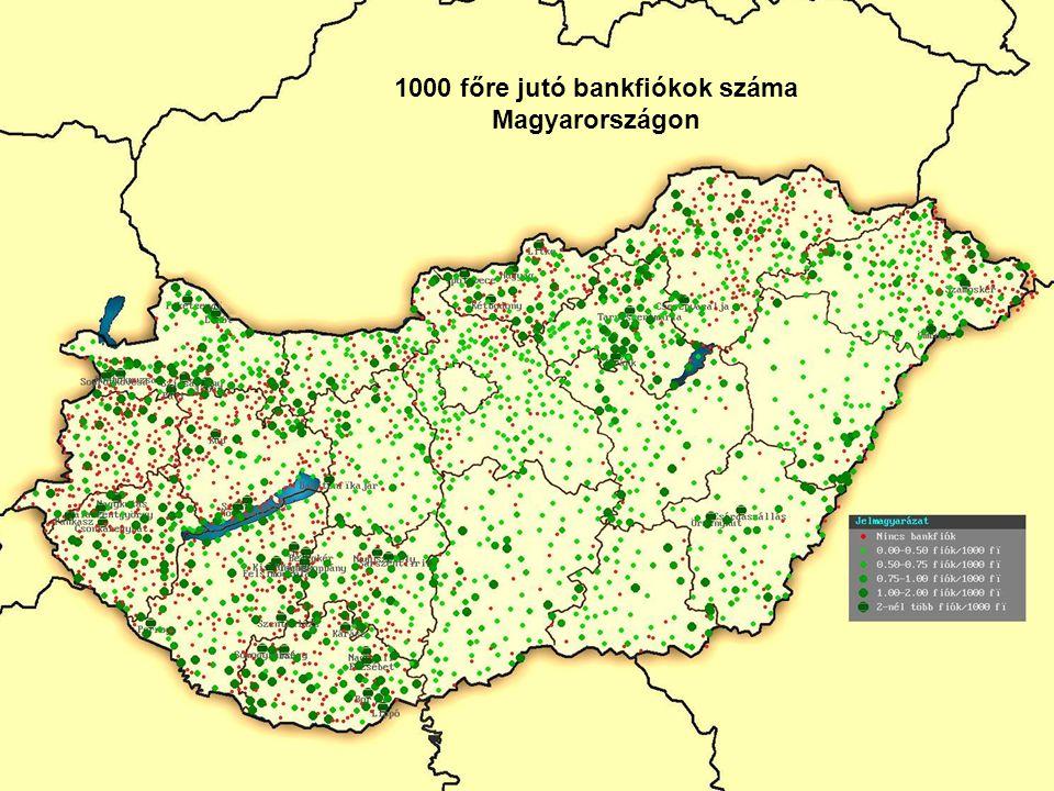 27 1000 főre jutó bankfiókok száma Magyarországon