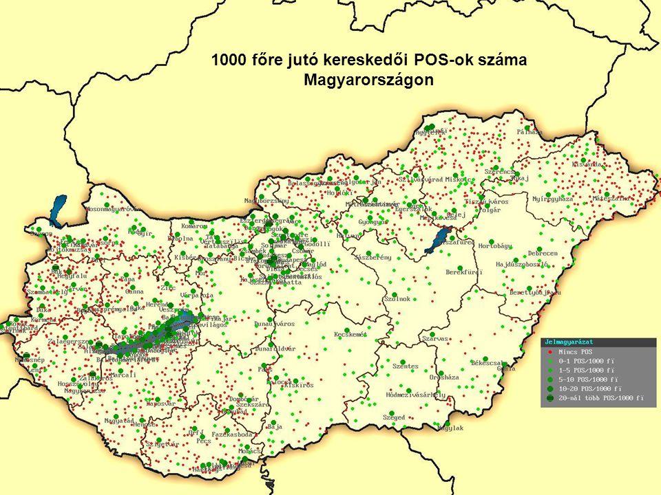 28 1000 főre jutó kereskedői POS-ok száma Magyarországon