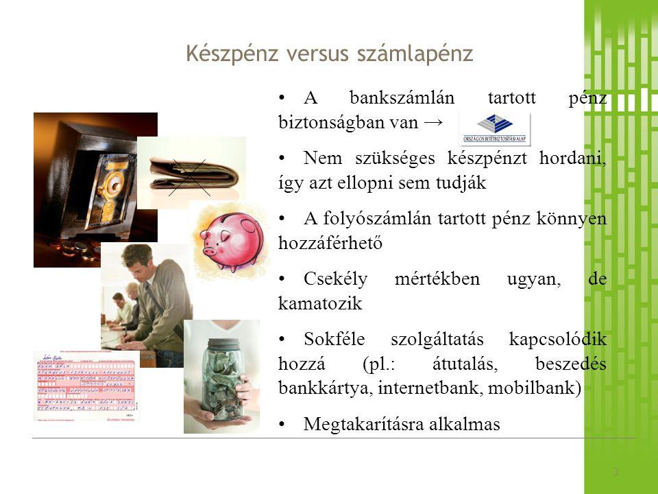 Készpénz versus számlapénz 3 A bankszámlán tartott pénz biztonságban van → Nem szükséges készpénzt hordani, így azt ellopni sem tudják A folyószámlán