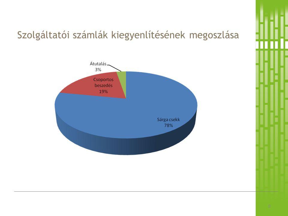 Szolgáltatói számlák kiegyenlítésének megoszlása 8