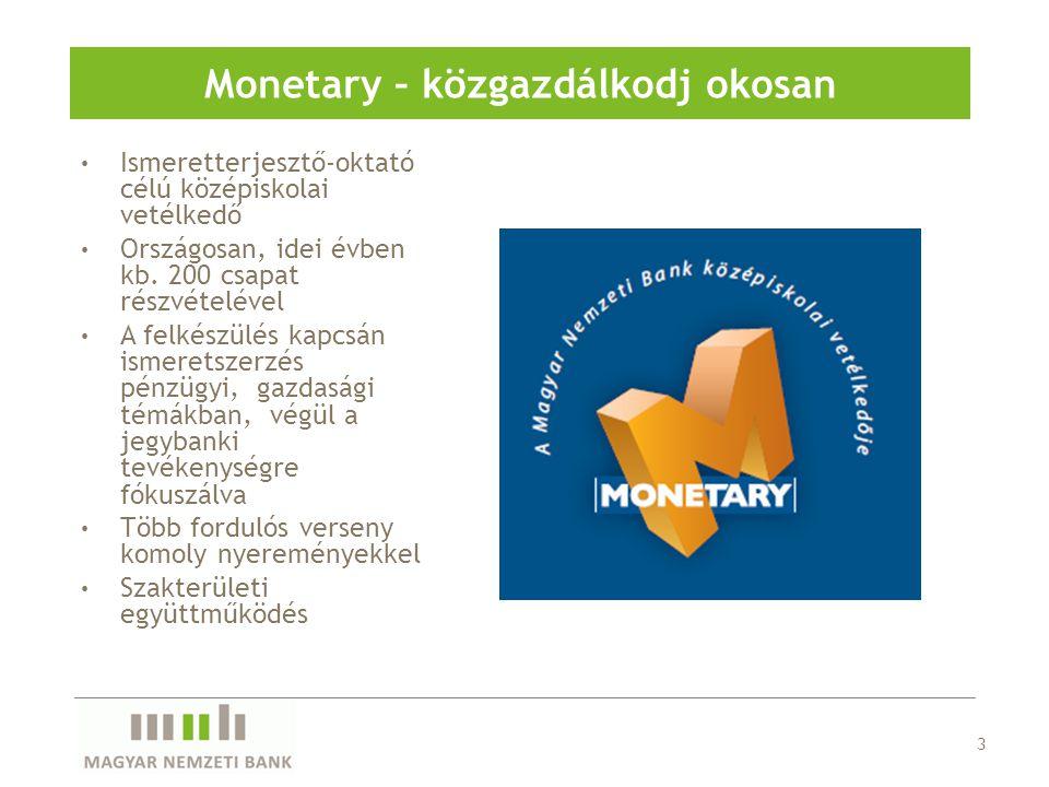 3 Monetary – közgazdálkodj okosan Ismeretterjesztő-oktató célú középiskolai vetélkedő Országosan, idei évben kb. 200 csapat részvételével A felkészülé