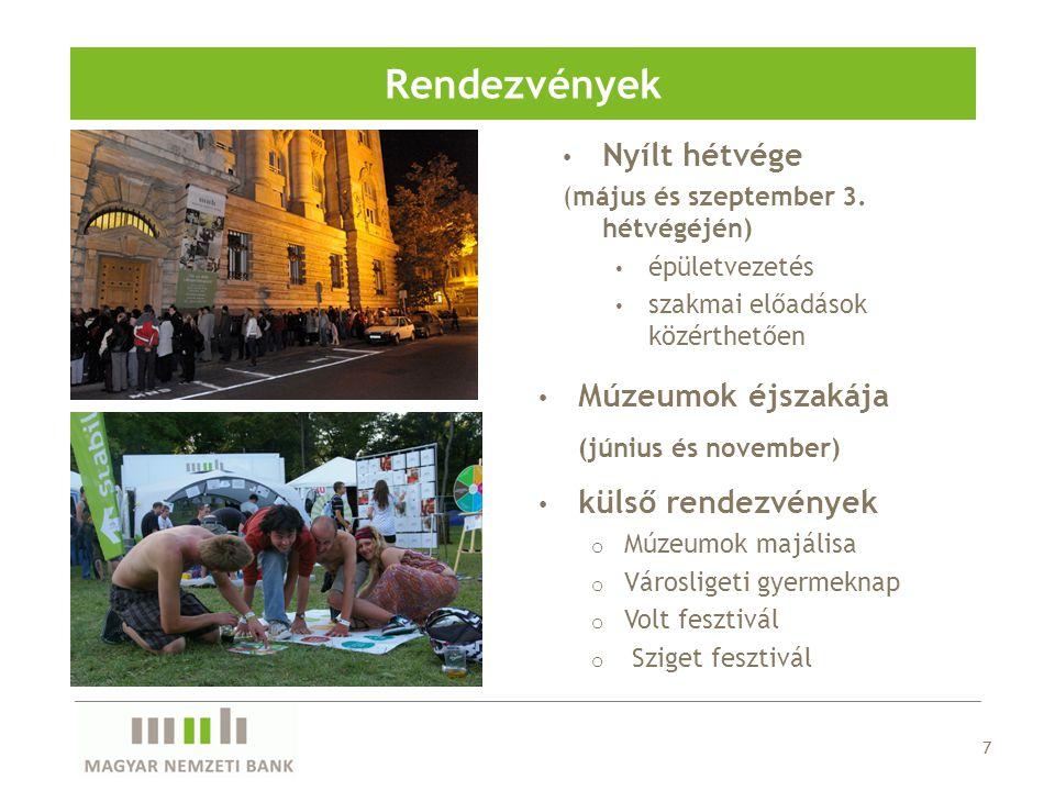 7 Rendezvények Nyílt hétvége (május és szeptember 3. hétvégéjén) épületvezetés szakmai előadások közérthetően Múzeumok éjszakája (június és november)