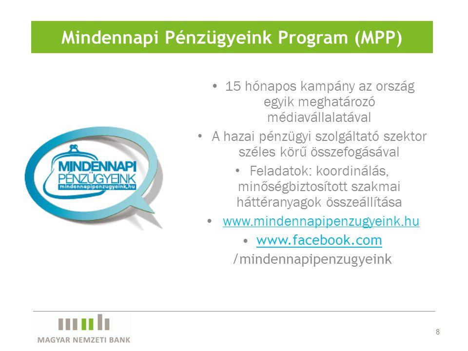 8 Mindennapi Pénzügyeink Program (MPP) 15 hónapos kampány az ország egyik meghatározó médiavállalatával A hazai pénzügyi szolgáltató szektor széles kö