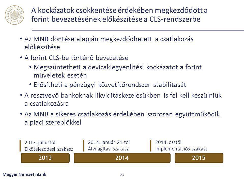 A kockázatok csökkentése érdekében megkezdődött a forint bevezetésének előkészítése a CLS-rendszerbe Az MNB döntése alapján megkezdődhetett a csatlako