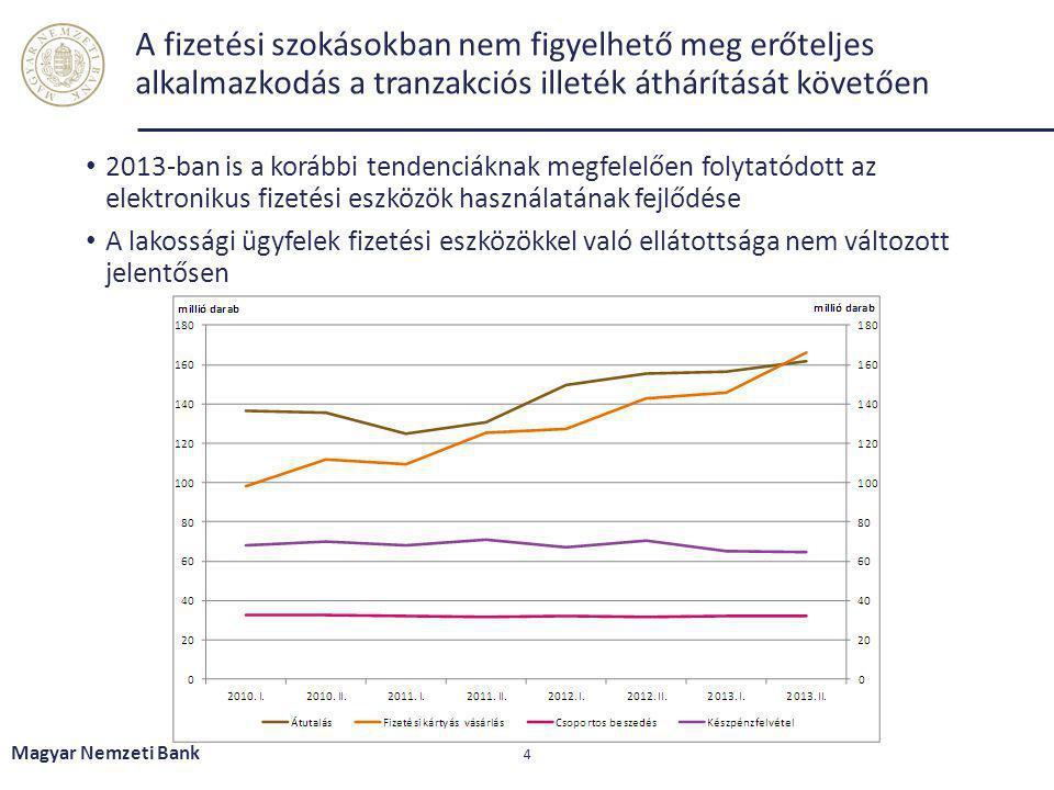A fizetési szokásokban nem figyelhető meg erőteljes alkalmazkodás a tranzakciós illeték áthárítását követően 2013-ban is a korábbi tendenciáknak megfe