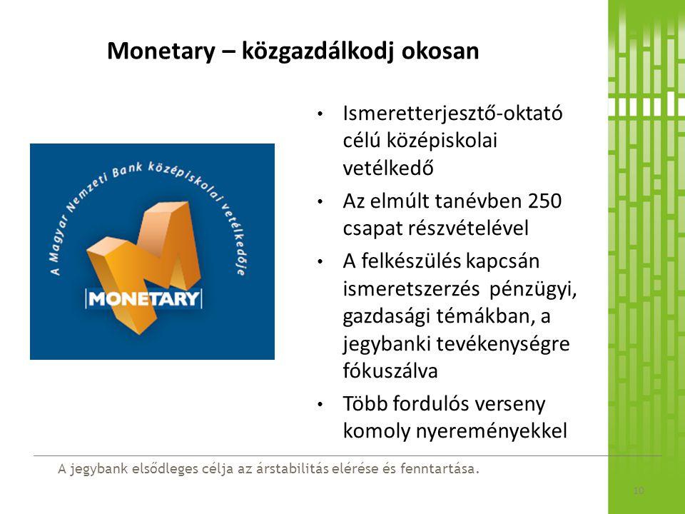 A jegybank elsődleges célja az árstabilitás elérése és fenntartása. Monetary – közgazdálkodj okosan Ismeretterjesztő-oktató célú középiskolai vetélked