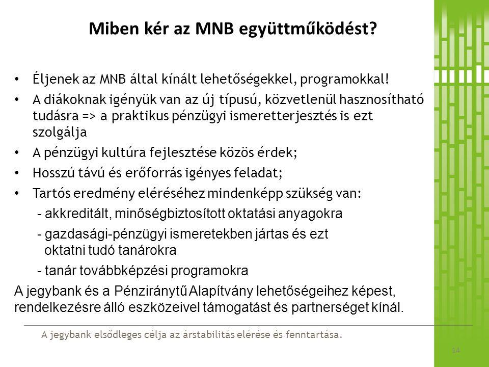 A jegybank elsődleges célja az árstabilitás elérése és fenntartása. Miben kér az MNB együttműködést? 14 Éljenek az MNB által kínált lehetőségekkel, pr