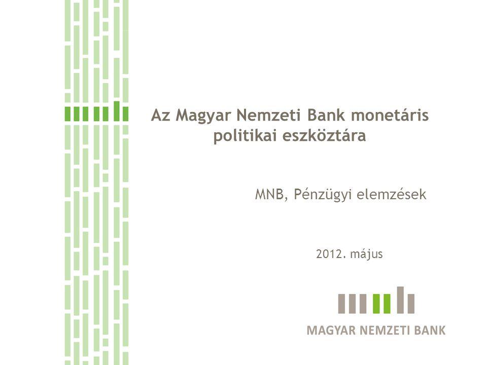 1.Az eszköztár helye az inflációs célkövetés rendszerében 2.Az eszköztár felépítése 3.A bankközi likviditás meghatározó tényezői aggregált szinten 4.Bankrendszer likviditását érő sokkok, és azok kezelése 2 Tematika