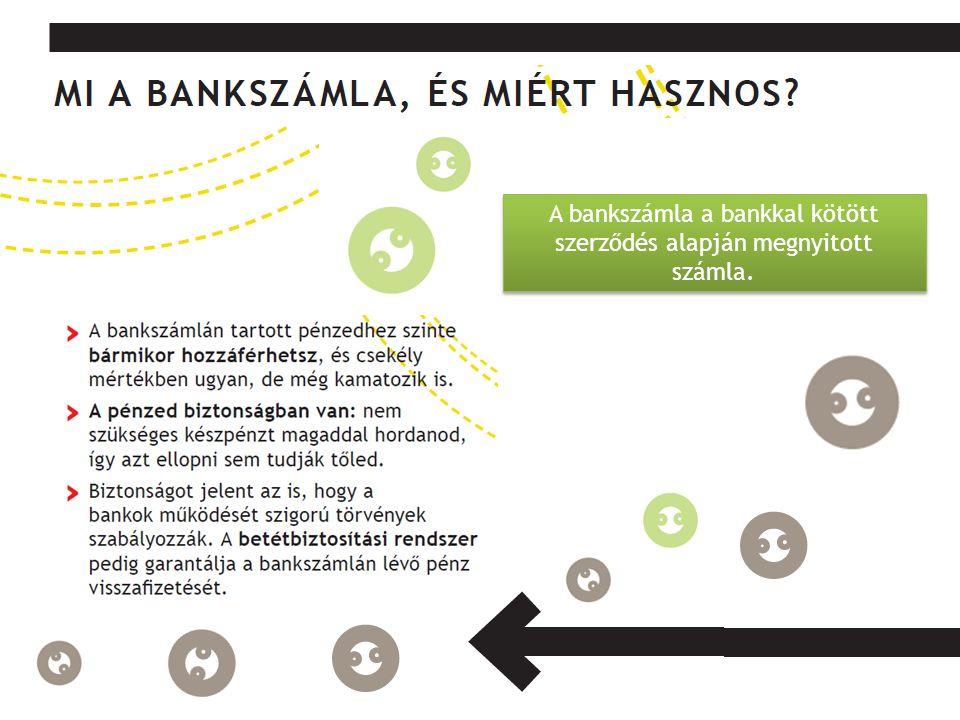 A bankszámla a bankkal kötött szerződés alapján megnyitott számla.