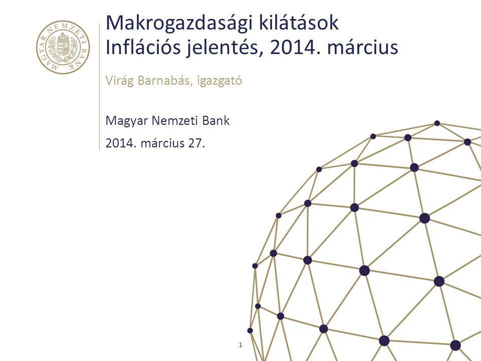 Decemberi előrejelzésünk és a beérkező adatok Magyar Nemzeti Bank 2 KÜLSŐ KÖRNYEZET Fokozatos élénkülés felvevőpiacainkonUkrán-orosz konfliktus kockázatai Alacsony importált inflációA vártnál alacsonyabb nyersanyagárak Stabilizálódó pénzpiaci környezet Kockázati mutatóink érdemben nem változtak, de az árfolyam gyengült REÁLGAZDASÁG Erősödő gazdasági növekedésA vártnak megfelelő konjunktúra A belső kereslet is élénkülVártnál gyorsabb EU forrásfelhasználás A konjunktúrával élénkülő foglalkoztatásFolytatódott a létszámbővülés NOMINÁLIS FOLYAMATOK Dezinflációs keresleti környezetA kibocsátási rés továbbra is negatív Visszafogott bérezésVáltozatlanul alacsony bérdinamika Cél alatti inflációAlacsonyabb inflációs pálya Mérsékelt adószűrt maginflációMérsékelt alapfolyamatok