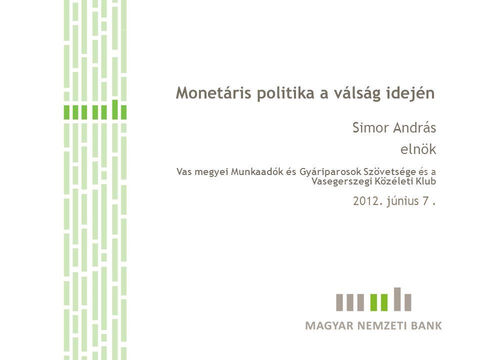 Elsődleges célját szem előtt tartva a rendelkezésre álló eszközökkel mérsékli a növekedési áldozatot és lehetőségeihez mérten simítja az alkalmazkodást Az MNB lehetőségei korlátozottak Monetáris lazítás a devizaadósság következtében pénzügyi stabilitási kockázatot jelenthet Alapvető célok: inflációs cél elérése - kiszámítható környezet pénzügyi stabilitás biztosítása - növekedés közvetett árfolyam túllövések elkerülése támogatása Egy kibővített monetáris eszköztár segíthet piaci kudarcok kezelésében, piacépítésben de hosszabb távon hiányt/adósságot generálhat és bizalomromlást, tőkekivonást, stabilitási kockázatokat okozhat Mit tehet az MNB.