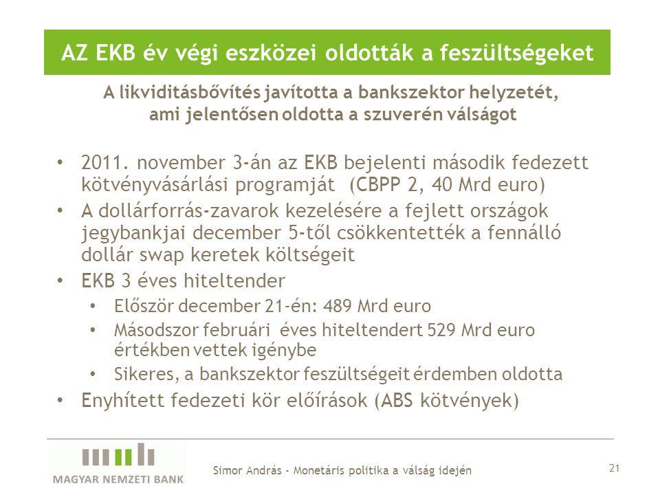 A likviditásbővítés javította a bankszektor helyzetét, ami jelentősen oldotta a szuverén válságot AZ EKB év végi eszközei oldották a feszültségeket Simor András - Monetáris politika a válság idején 2011.