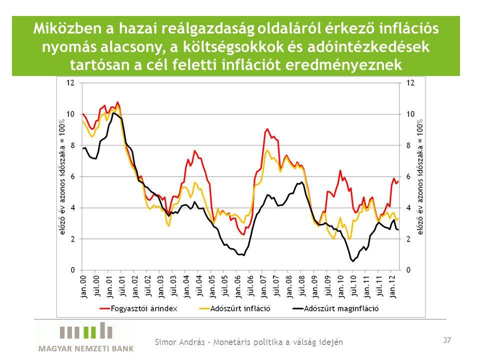 Miközben a hazai reálgazdaság oldaláról érkező inflációs nyomás alacsony, a költségsokkok és adóintézkedések tartósan a cél feletti inflációt eredményeznek 37 Simor András - Monetáris politika a válság idején