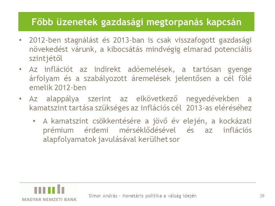 Főbb üzenetek gazdasági megtorpanás kapcsán Simor András - Monetáris politika a válság idején 2012-ben stagnálást és 2013-ban is csak visszafogott gazdasági növekedést várunk, a kibocsátás mindvégig elmarad potenciális szintjétől Az inflációt az indirekt adóemelések, a tartósan gyenge árfolyam és a szabályozott áremelések jelentősen a cél fölé emelik 2012-ben Az alappálya szerint az elkövetkező negyedévekben a kamatszint tartása szükséges az inflációs cél 2013-as eléréséhez A kamatszint csökkentésére a jövő év elején, a kockázati prémium érdemi mérséklődésével és az inflációs alapfolyamatok javulásával kerülhet sor 39