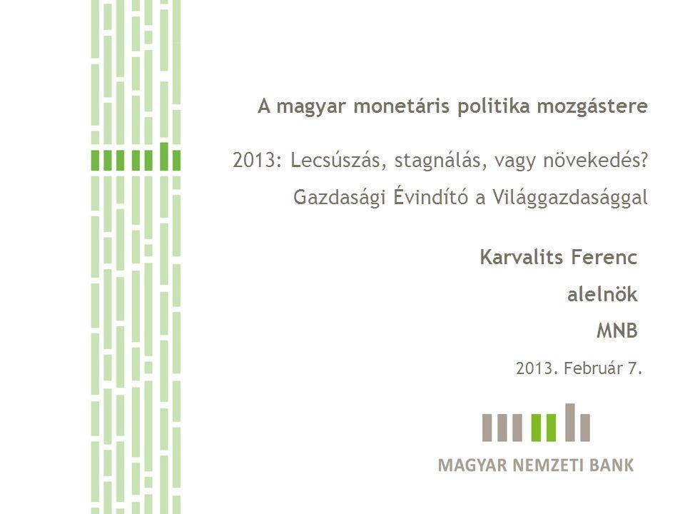 A magyar monetáris politika mozgástere 2013: Lecsúszás, stagnálás, vagy növekedés.
