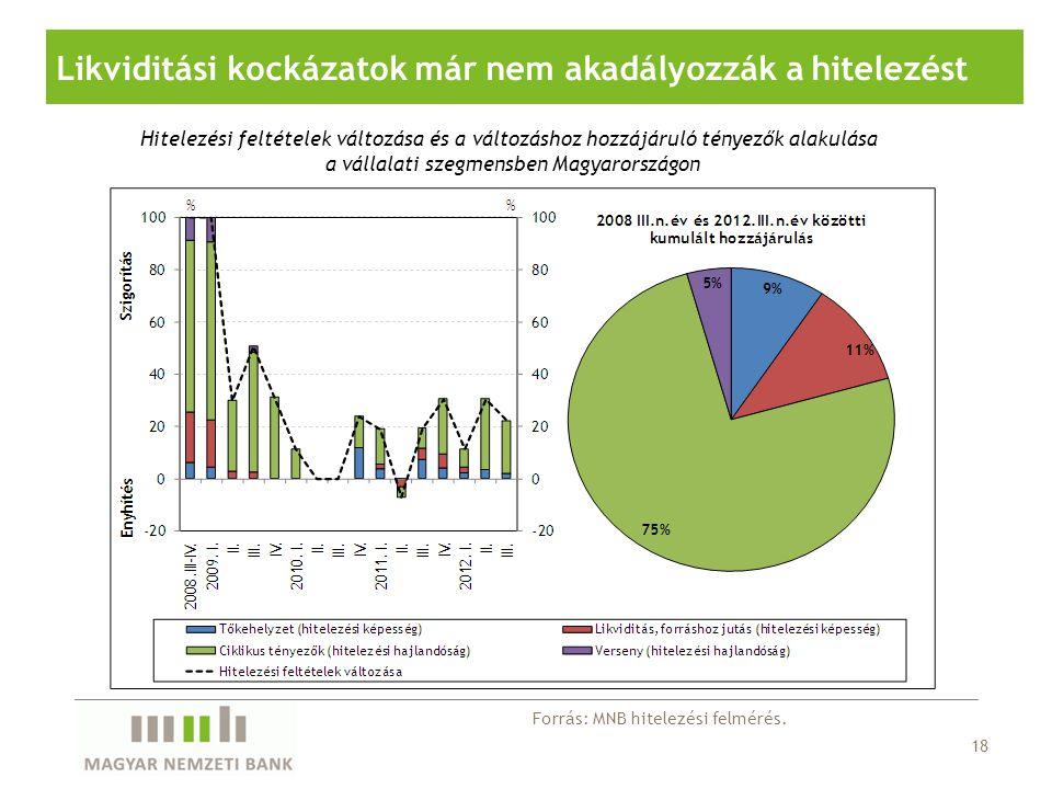18 Likviditási kockázatok már nem akadályozzák a hitelezést Hitelezési feltételek változása és a változáshoz hozzájáruló tényezők alakulása a vállalati szegmensben Magyarországon Forrás: MNB hitelezési felmérés.
