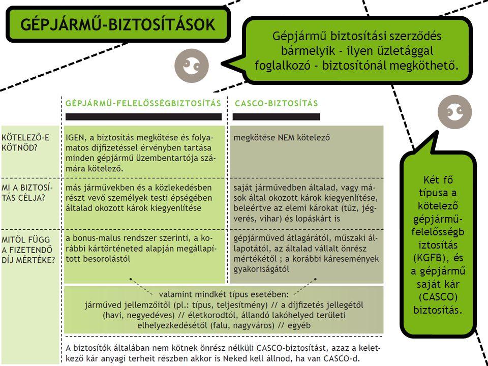 GÉPJÁRMŰ-BIZTOSÍTÁSOK Gépjármű biztosítási szerződés bármelyik - ilyen üzletággal foglalkozó - biztosítónál megköthető.