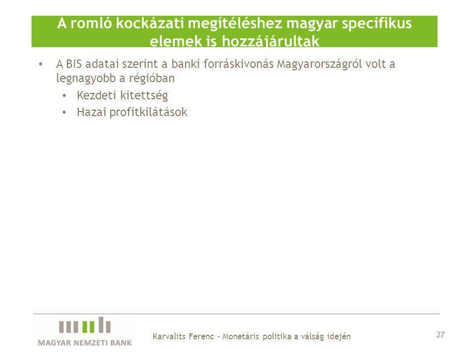 A BIS adatai szerint a banki forráskivonás Magyarországról volt a legnagyobb a régióban Kezdeti kitettség Hazai profitkilátások A romló kockázati megítéléshez magyar specifikus elemek is hozzájárultak 27 Karvalits Ferenc - Monetáris politika a válság idején