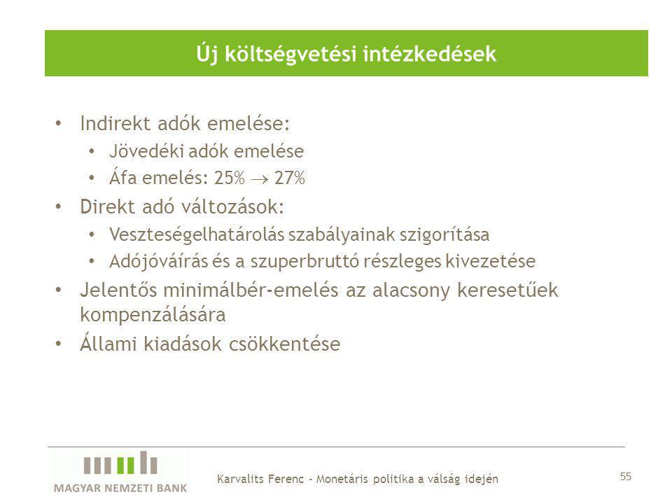 Indirekt adók emelése: Jövedéki adók emelése Áfa emelés: 25%  27% Direkt adó változások: Veszteségelhatárolás szabályainak szigorítása Adójóváírás és a szuperbruttó részleges kivezetése Jelentős minimálbér-emelés az alacsony keresetűek kompenzálására Állami kiadások csökkentése Új költségvetési intézkedések 55 Karvalits Ferenc - Monetáris politika a válság idején