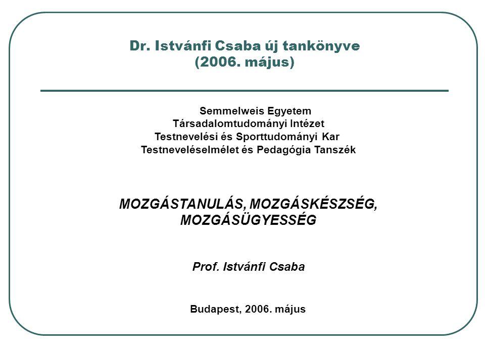 Dr. Istvánfi Csaba új tankönyve (2006. május) Semmelweis Egyetem Társadalomtudományi Intézet Testnevelési és Sporttudományi Kar Testneveléselmélet és