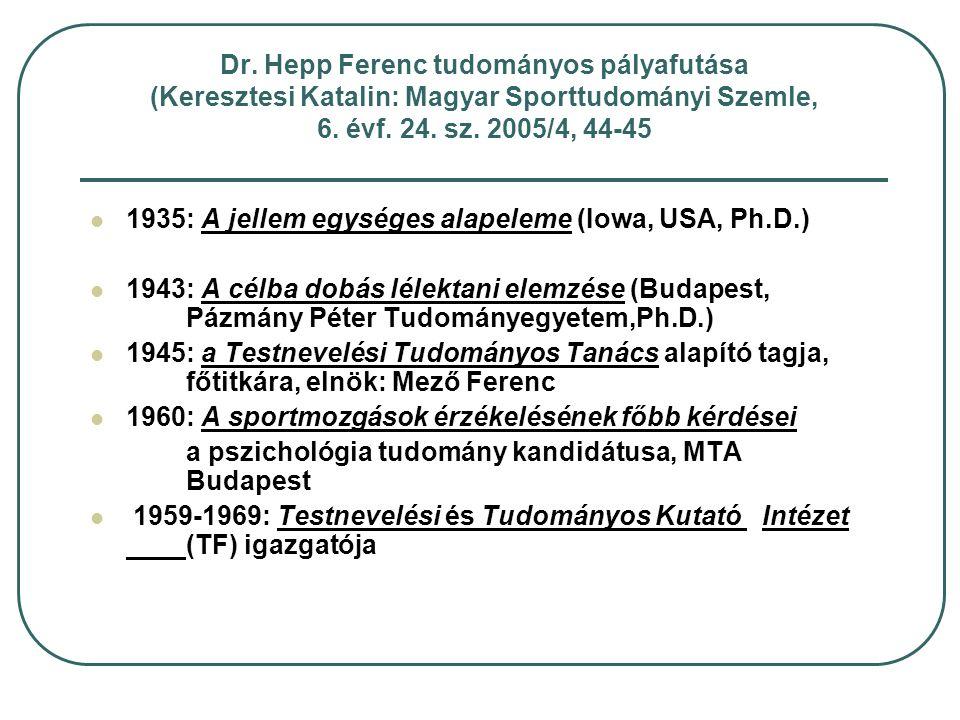 Dr. Hepp Ferenc tudományos pályafutása (Keresztesi Katalin: Magyar Sporttudományi Szemle, 6. évf. 24. sz. 2005/4, 44-45 1935: A jellem egységes alapel