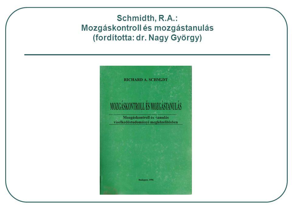 Schmidth, R.A.: Mozgáskontroll és mozgástanulás (fordította: dr. Nagy György)