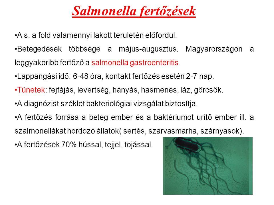 Salmonella fertőzések A s. a föld valamennyi lakott területén előfordul. Betegedések többsége a május-augusztus. Magyarországon a leggyakoribb fertőző
