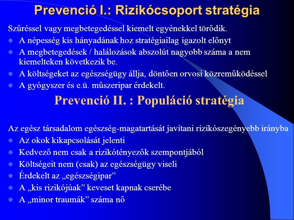 Prevenció I.: Rizikócsoport stratégia Szűréssel vagy megbetegedéssel kiemelt egyénekkel törődik. A népesség kis hányadának hoz stratégiailag igazolt e