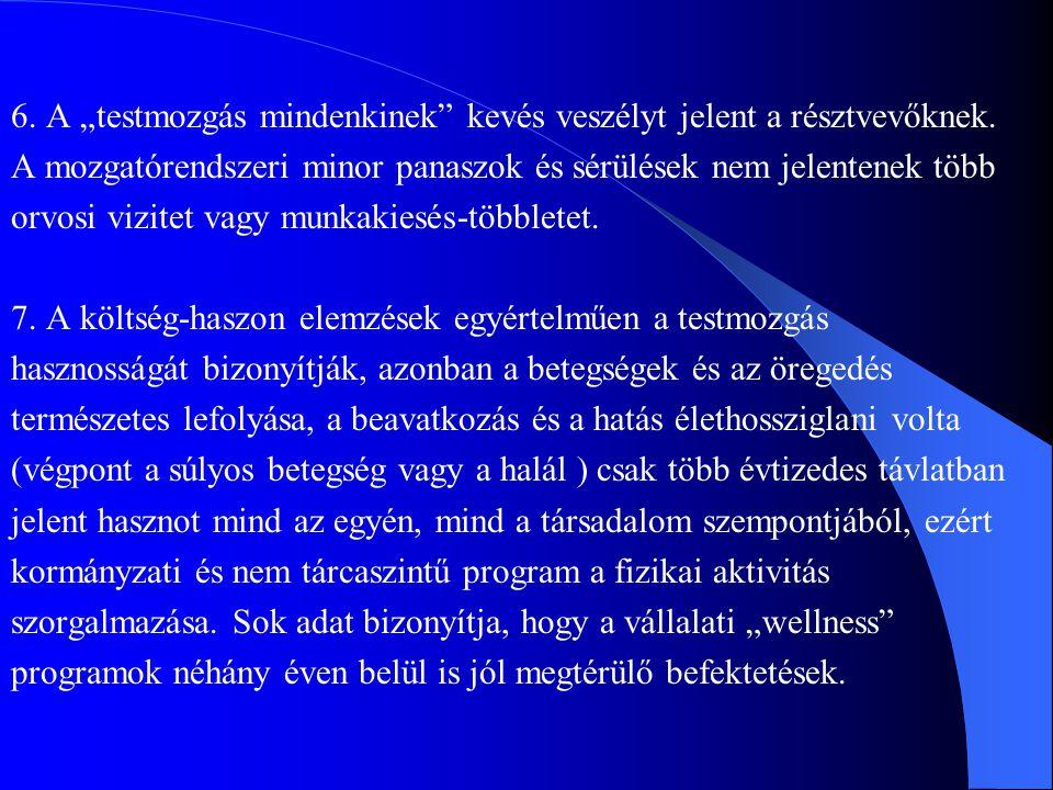 """6. A """"testmozgás mindenkinek"""" kevés veszélyt jelent a résztvevőknek. A mozgatórendszeri minor panaszok és sérülések nem jelentenek több orvosi vizitet"""
