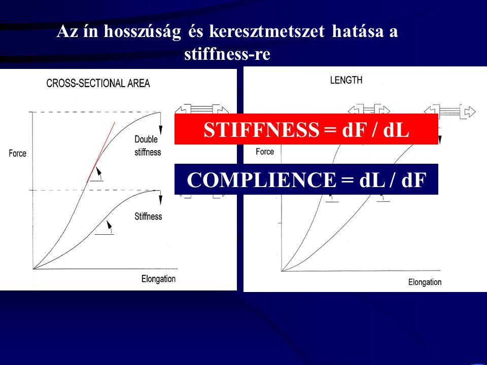 ERŐ – MEGNYÚLÁS KAPCSOLAT Stiffness = dF dl -1 769.2 N m -1 dF dl Noyes et al. 1984 335 N m -1