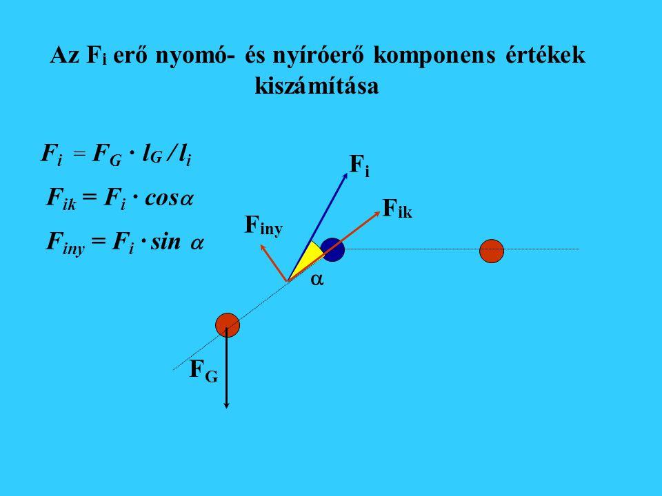 Az izomerő (F m ) kiszámítása FGFG lGlG FiFi lili F G · l G = F i · l i F i = F G · l G / l i