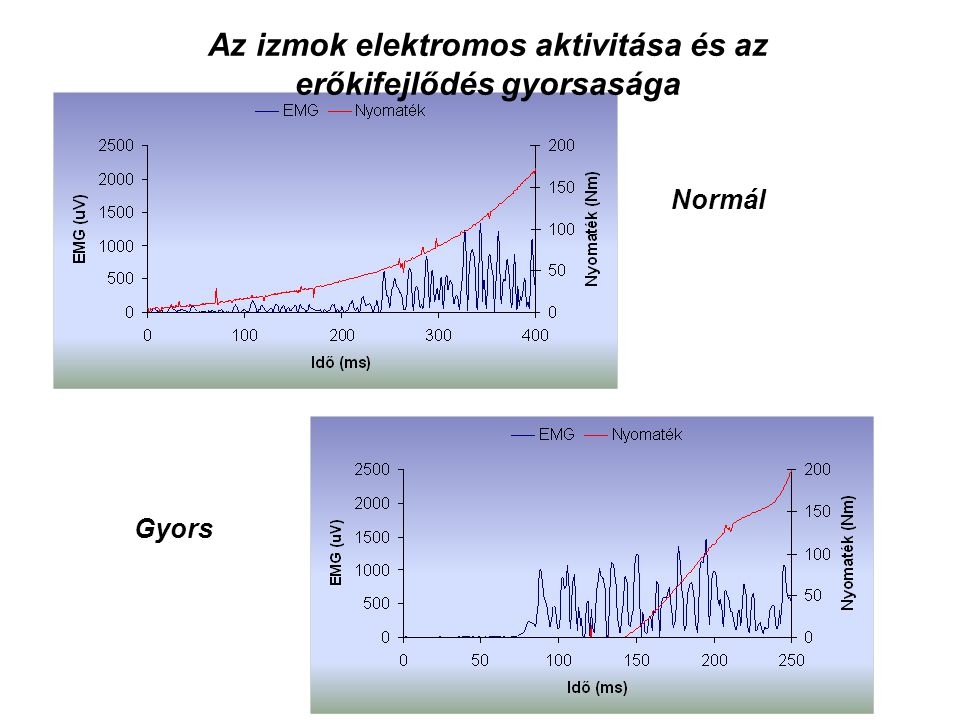Akaratlagos izometriás erő (nyomaték) kifejtés kezdetének időbeli lefolyása Freund, H. (1983)