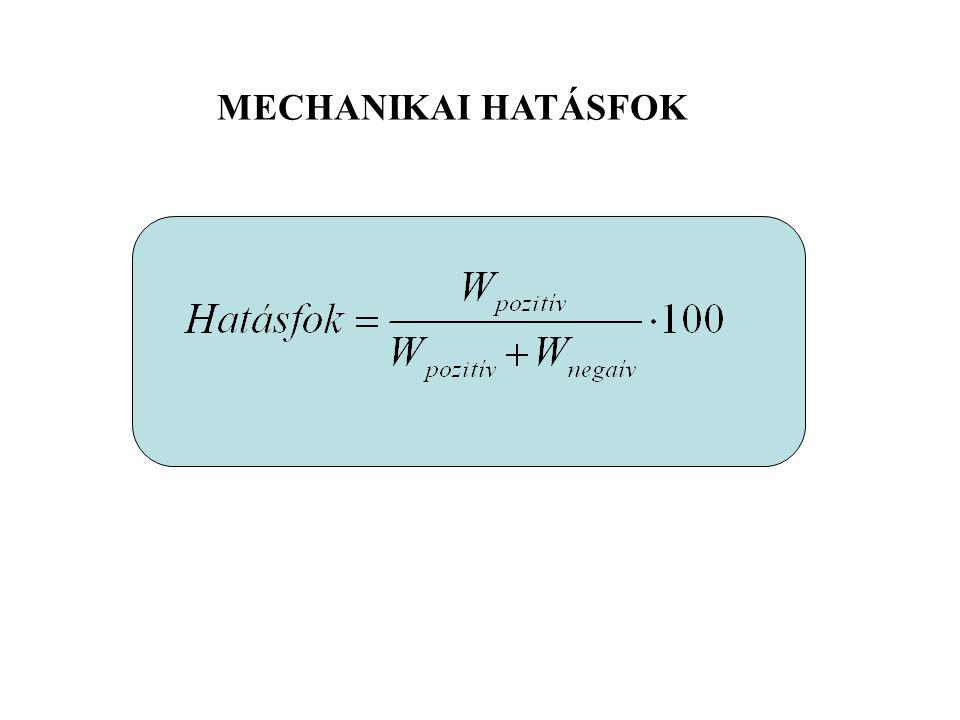 nyúlás rövidülés Elasztikus energia tárolás és felhasználás Mechanikai hatásfok Negatív munka Pozitív munka