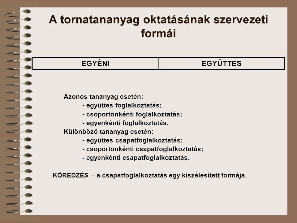 A tornatananyag oktatásának szervezeti formái Azonos tananyag esetén: - együttes foglalkoztatás; - csoportonkénti foglalkoztatás; - egyenkénti foglalkoztatás.