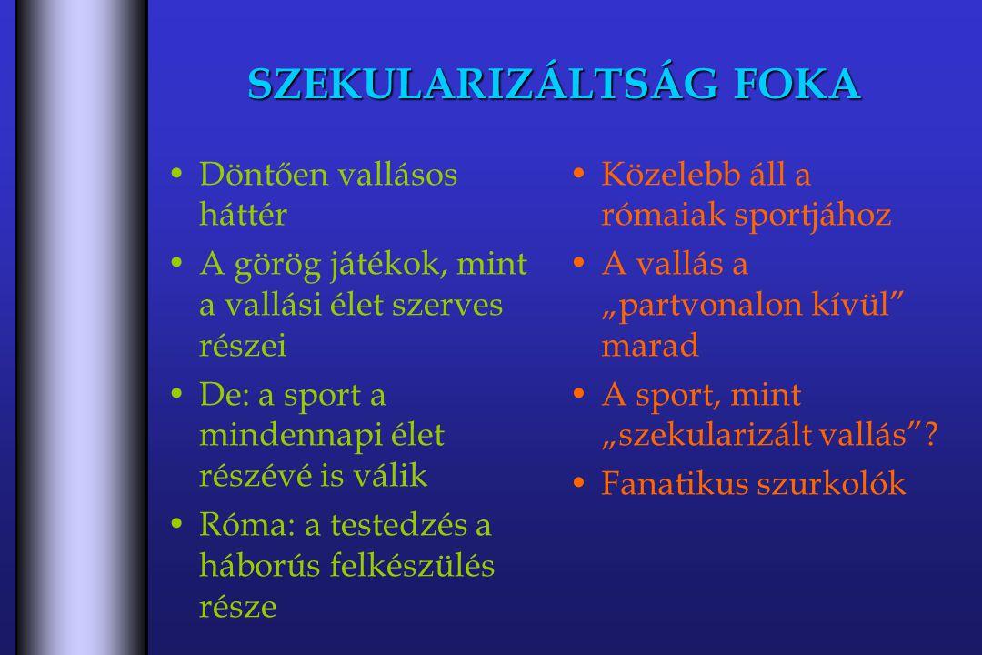 """SZEKULARIZÁLTSÁG FOKA Döntően vallásos háttér A görög játékok, mint a vallási élet szerves részei De: a sport a mindennapi élet részévé is válik Róma: a testedzés a háborús felkészülés része Közelebb áll a rómaiak sportjához A vallás a """"partvonalon kívül marad A sport, mint """"szekularizált vallás ."""