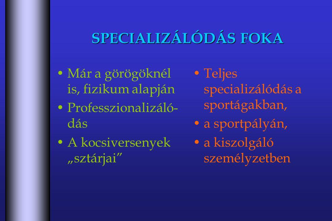 """SPECIALIZÁLÓDÁS FOKA Már a görögöknél is, fizikum alapján Professzionalizáló- dás A kocsiversenyek """"sztárjai Teljes specializálódás a sportágakban, a sportpályán, a kiszolgáló személyzetben"""
